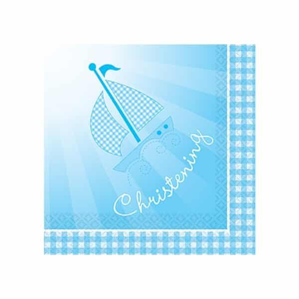Christening Booties Blue Party Paper Napkins
