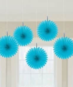 Turquoise Party Paper Fan Decorations