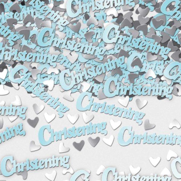 Christening Table/Invite Blue Confetti