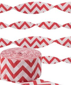 Red Chevron Party Crepe Streamer