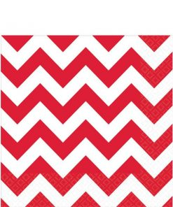 Red Chevron Party Paper Napkins