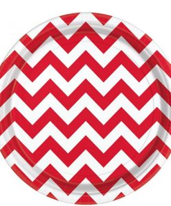 Red Chevron Party Paper Plates