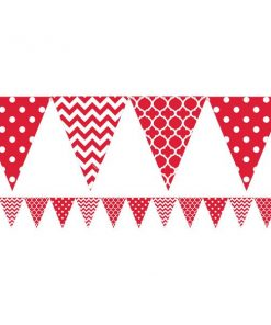 Red Polka Dot & Chevron Party Bunting