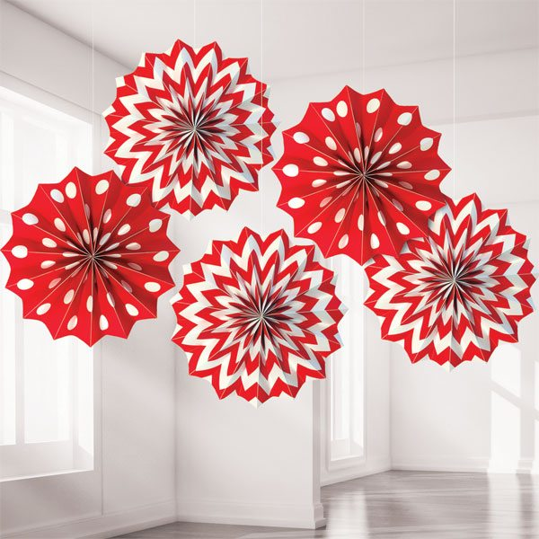 Red Polka Dot & Chevron Party Paper Fan Decorations