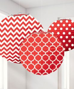 Red Polka Dot & Chevron Paper Party Lantern Decorations