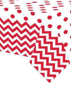 Red Polka Dot & Chevron Party Plastic Tablecover