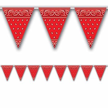 Wild West Party Bandana Print Plastic Bunting