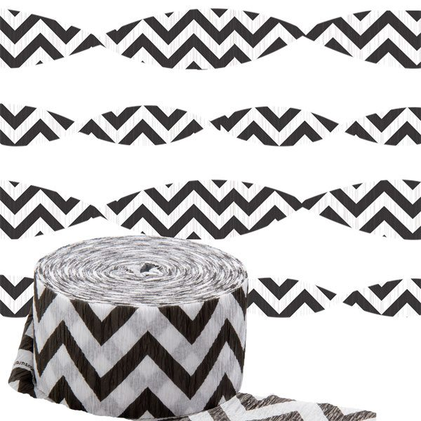 Black Chevron Party Crepe Streamer