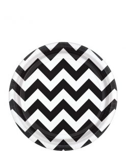 Black Chevron Party Paper Dessert Plates