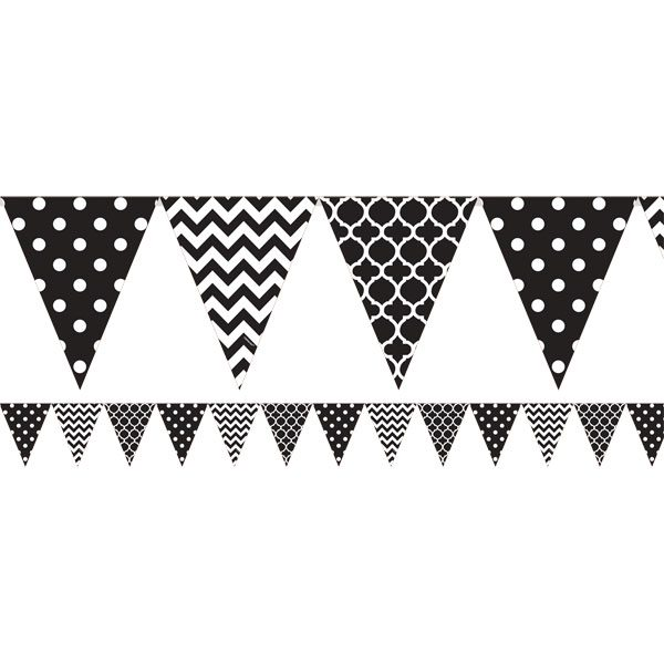 Black Polka Dot & Chevron Party Bunting