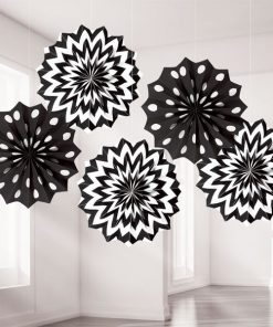 Black Polka Dot & Chevron Party Paper Fan Decorations