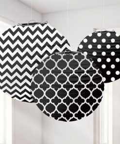 Black Polka Dot & Chevron Party Paper Lantern Decorations
