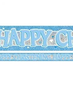 Blue Holographic Christening Foil Banner
