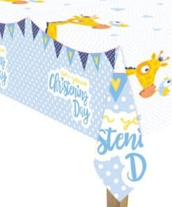 Christening Day Blue Plastic Tablecover