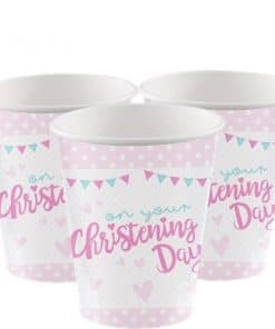 Christening Day Pink Paper Party Cups
