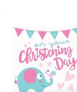 Christening Day Pink Paper Napkins