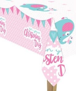 Christening Day Pink Plastic Tablecover