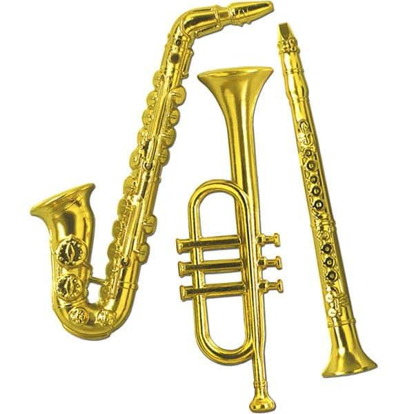 Gold Plastic Musical Instrument Decorations