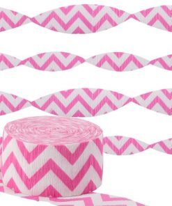 Hot Pink Chevron Party Crepe Streamer