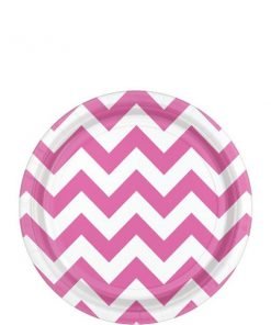 Hot Pink Chevron Party Paper Dessert Plates
