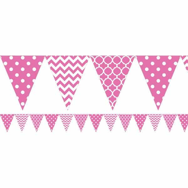 Hot Pink Polka Dot & Chevron Party Bunting
