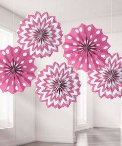 Hot Pink Polka Dot & Chevron Party Paper Fan Decorations
