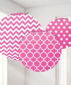 Hot Pink Polka Dot & Chevron Party Paper Lantern Decorations