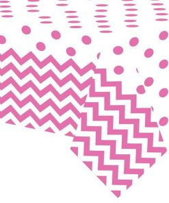 Hot Pink Polka Dot & Chevron Party Plastic Tablecover