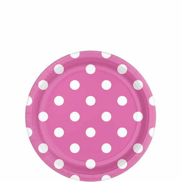 Hot Pink Polka Dot Party Paper Dessert Plates