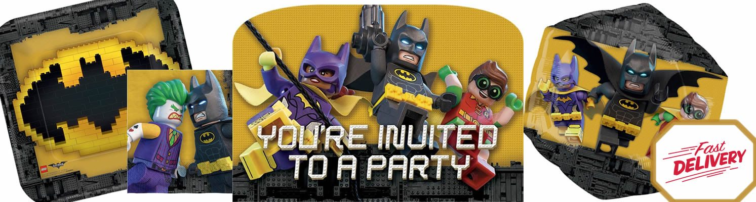 Lego Batman Party Plates, Cups & Napkins now in stock - Lego Batman Party in the UK