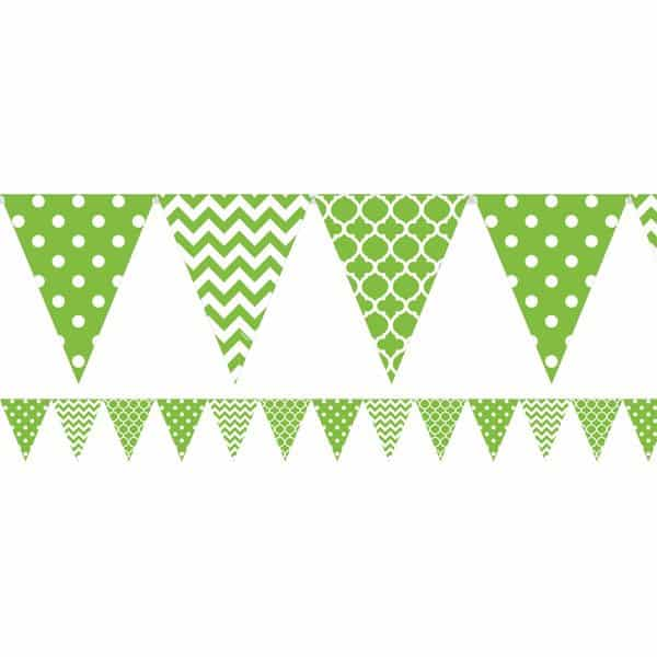Lime Green Polka Dot & Chevron Party Bunting