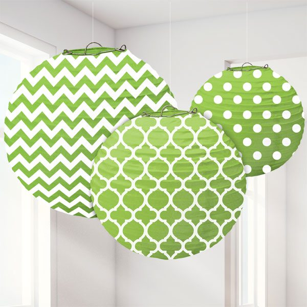 Lime Green Polka Dot & Chevron Party Paper Lantern Decorations