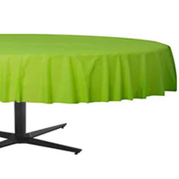 Lime Green Round Plastic Tablecover