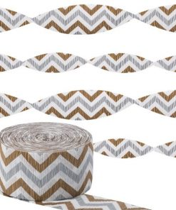 Metallic Chevron Crepe Streamer