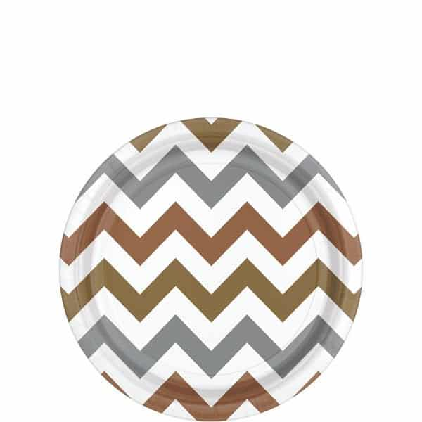 Metallic Chevron Party Paper Dessert Plates
