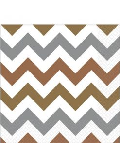 Metallic Chevron Party Paper Napkins