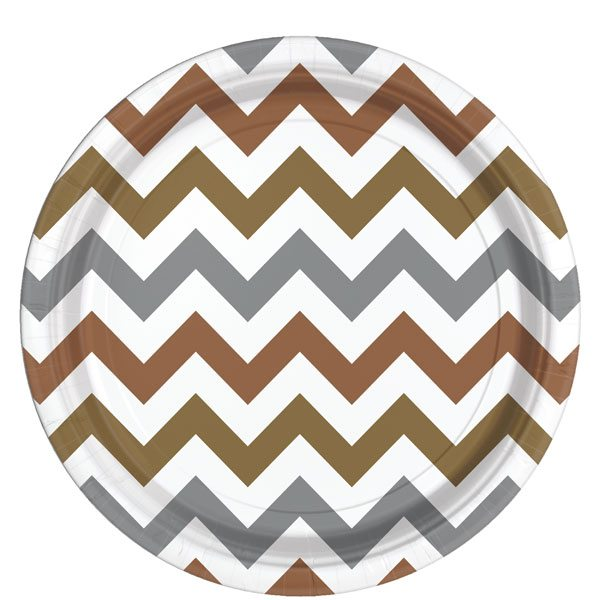 Metallic Chevron Party Paper Plates
