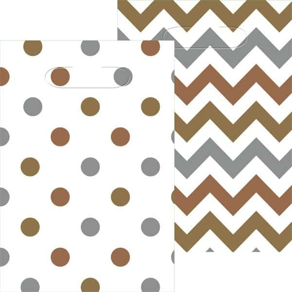 Metallic Polka Dot & Chevron Party Plastic Loot Bags