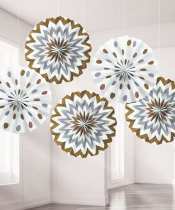 Metallic Polka Dot & Chevron Party Paper Fan Decorations