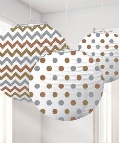 Metallic Polka Dot & Chevron Party Paper Lantern Decorations
