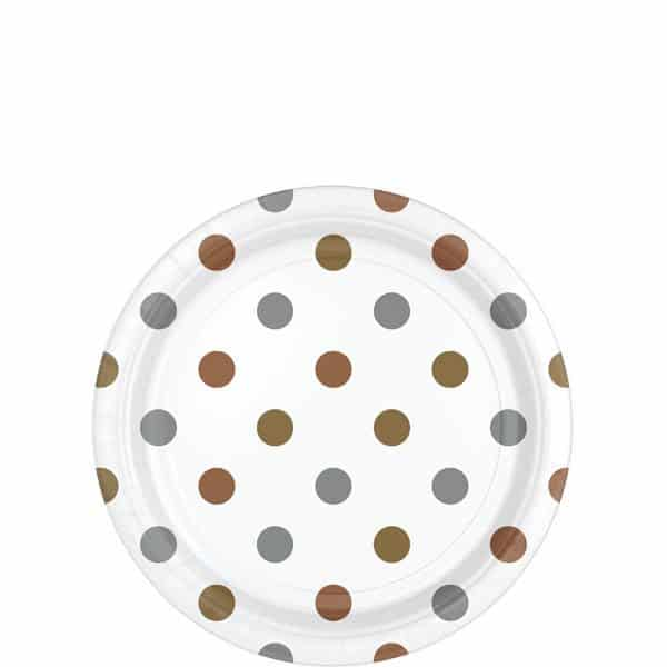 Metallic Polka Dot Party Paper Dessert Plates