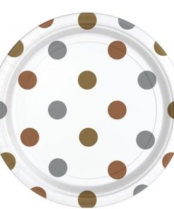 Metallic Polka Dot Party Paper Plates