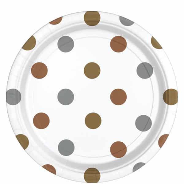 Metallic Polka Dot Party Paper Plates