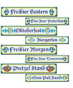 Oktoberfest Party Street Sign Cutouts