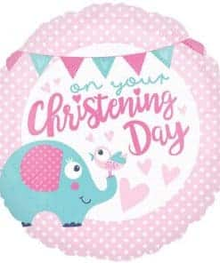 Pink Christening Day Foil Balloon