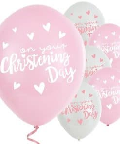 Pink Christening Day Latex Balloons