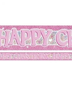 Pink Holographic Christening Foil Banner
