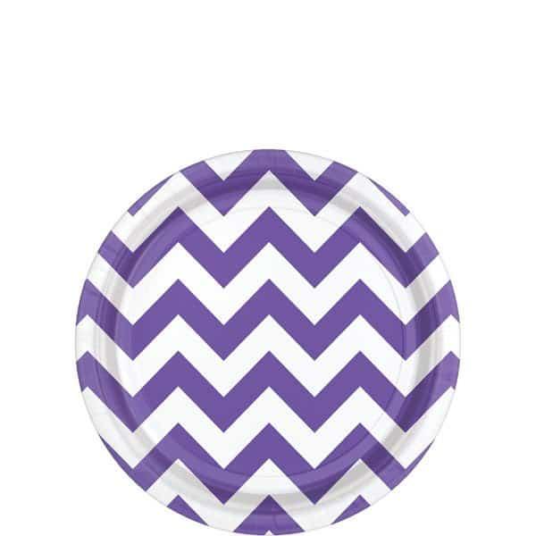 Purple Chevron Party Paper Dessert Plates