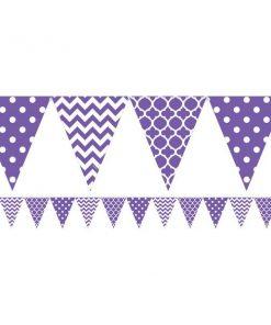 Purple Polka Dot & Chevron Party Bunting
