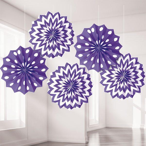 Purple Polka Dot & Chevron Party Paper Fan Decorations
